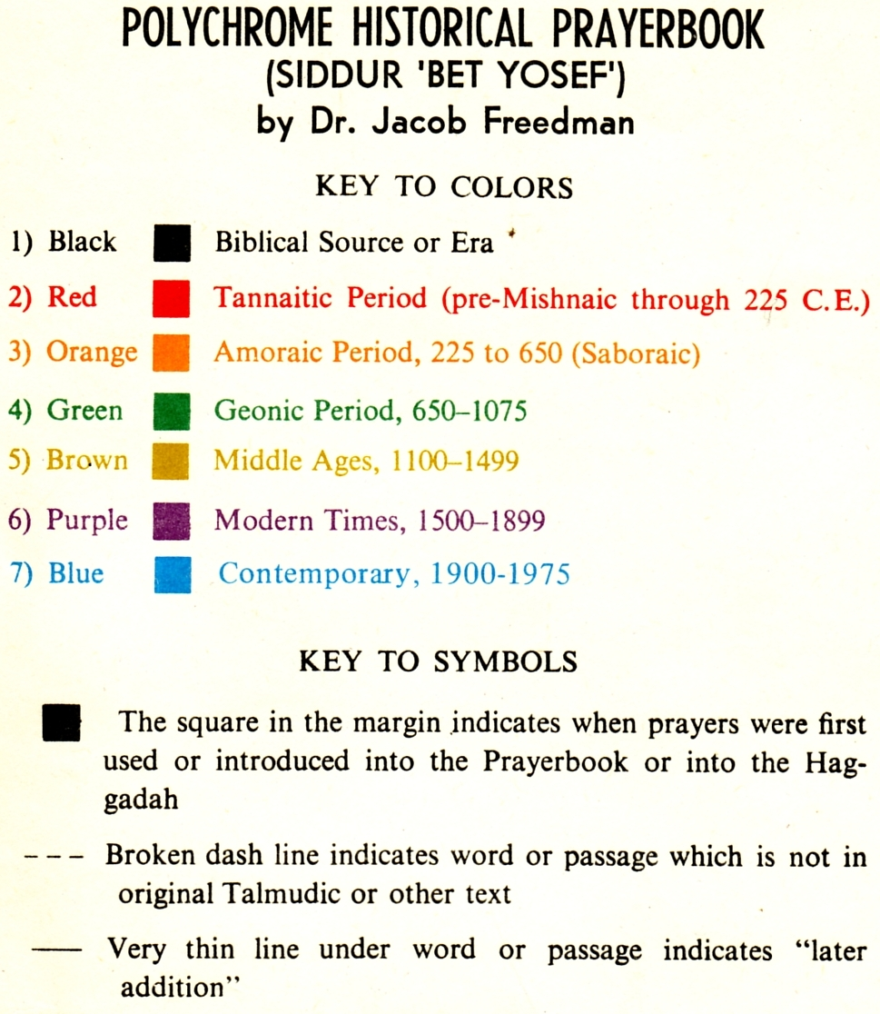 Color Coded Prayerbook Devised By Rabbi Springfield
