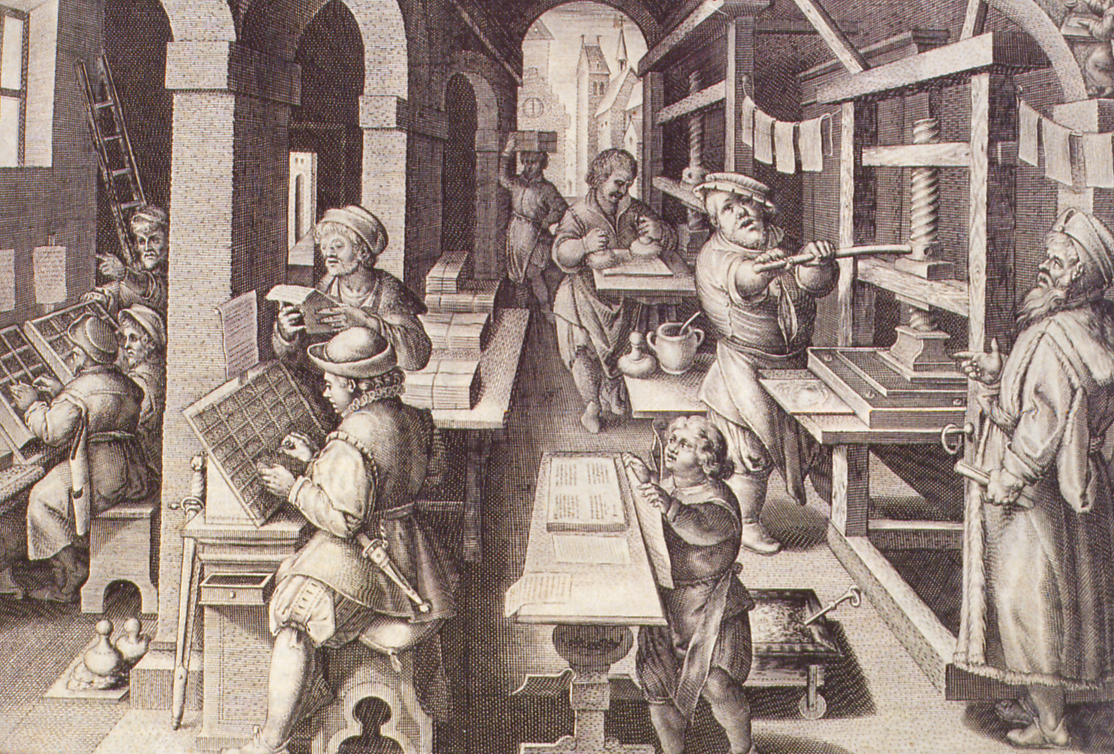 """Impressió librorum"". Engraving by Phillipus Galle of a drawing by Johannes Stradanus (Theodor Galle, Nova Reperta, Antwerp?, PHLS Galle, between 1590 and 1612?, No. 4. Madrid. ER/1605 National Library). This image has been significantly modified (credit: Aharon Varady, license:  CC-BY-SA)."