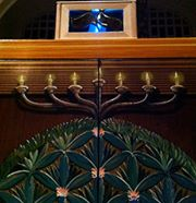 Beit Ahavah solar ner tamid, along with menorah and Tree of Life (Northampton, Massachusetts)