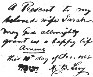 Included in the scanned work from which this transcription was made, an inscription on the flyleaf  from M.B. Levy to his wife, Sarah, on Ḥanukah 1866, San Francisco, California.