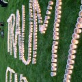 """""""Trauma Center Now"""" spelled out with tea lights in protective plastic cups from the Trauma Center Coalition's Campaign for a Level-I Trauma Care Center."""
