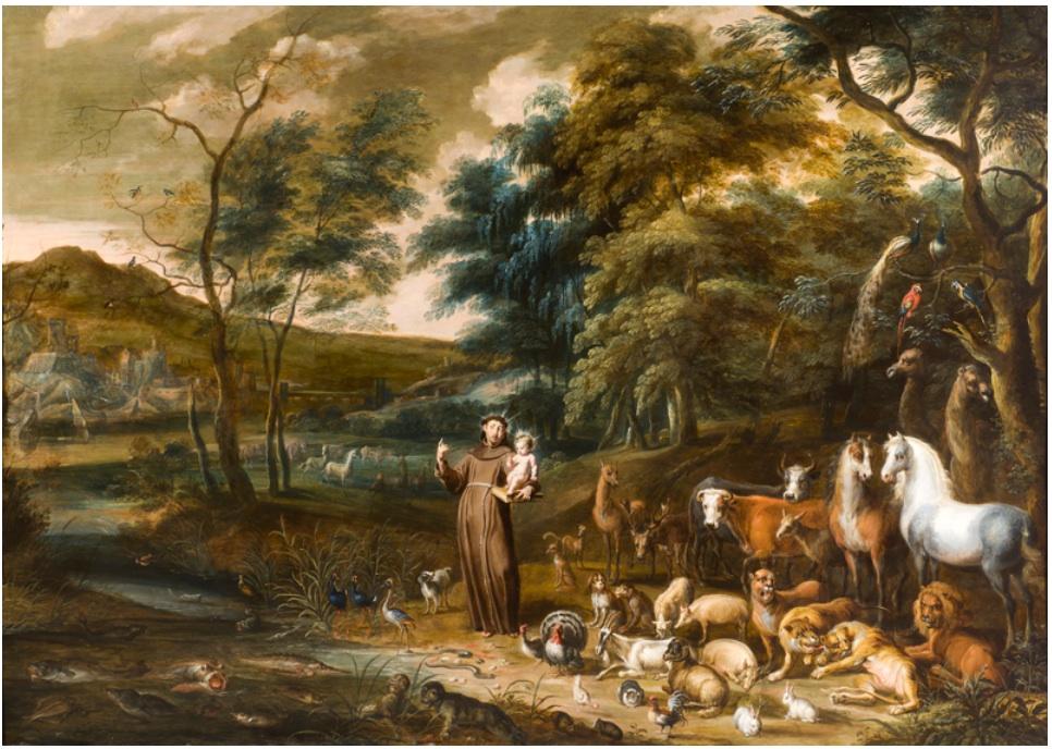 """Saint Francis with the Animals"" by Lambert de Hondt the Elder and Willem van Herp the Elder (17th century)."