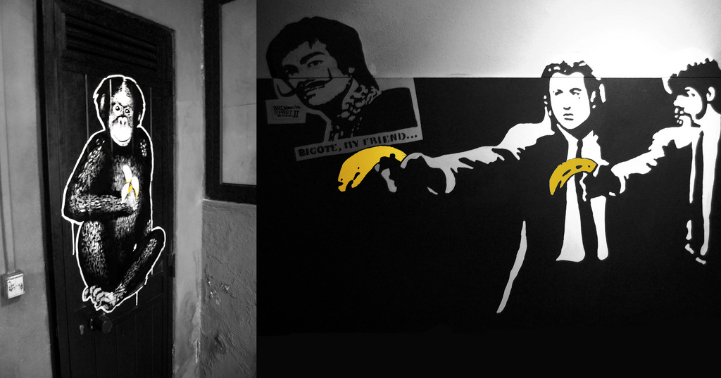 "Image: Monkey, Bananas, John Travolta & Samuel L. Jackson and More Bananas"" by Mr. Cary and Banksy (license: CC-BY 2.0)"