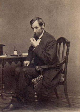 Abraham Lincoln in Thinking Pose (credit: Mathew Brady, 1862, Public Domain)