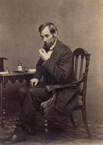Abraham Lincoln in Thinking Pose (credit: Mathew Brady, 1862, Public Domain)