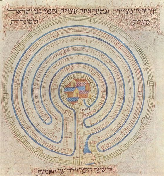 Yeriḥo as a seven walled Cretan labyrinth. (Farḥi Bible by Elisha ben Avraham Crescas, 14th cen.) The seven walls of Yericho are alluded to in the seven verses of Psalm 67.