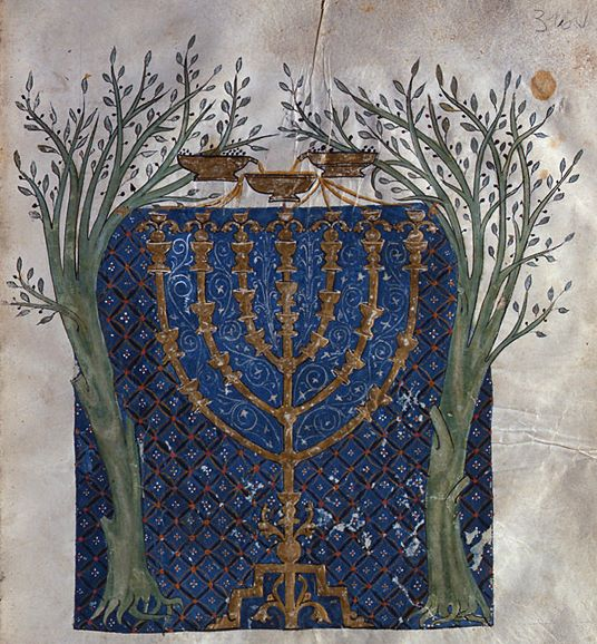 Menorah of Zekhariah's Vision from the Cervera Bible - Joseph the Frenchman, Spain, 1299–1300