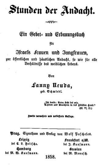 Fanny Schmiedl Neuda - Stunden Der Andacht - Title Page 1858 (small)