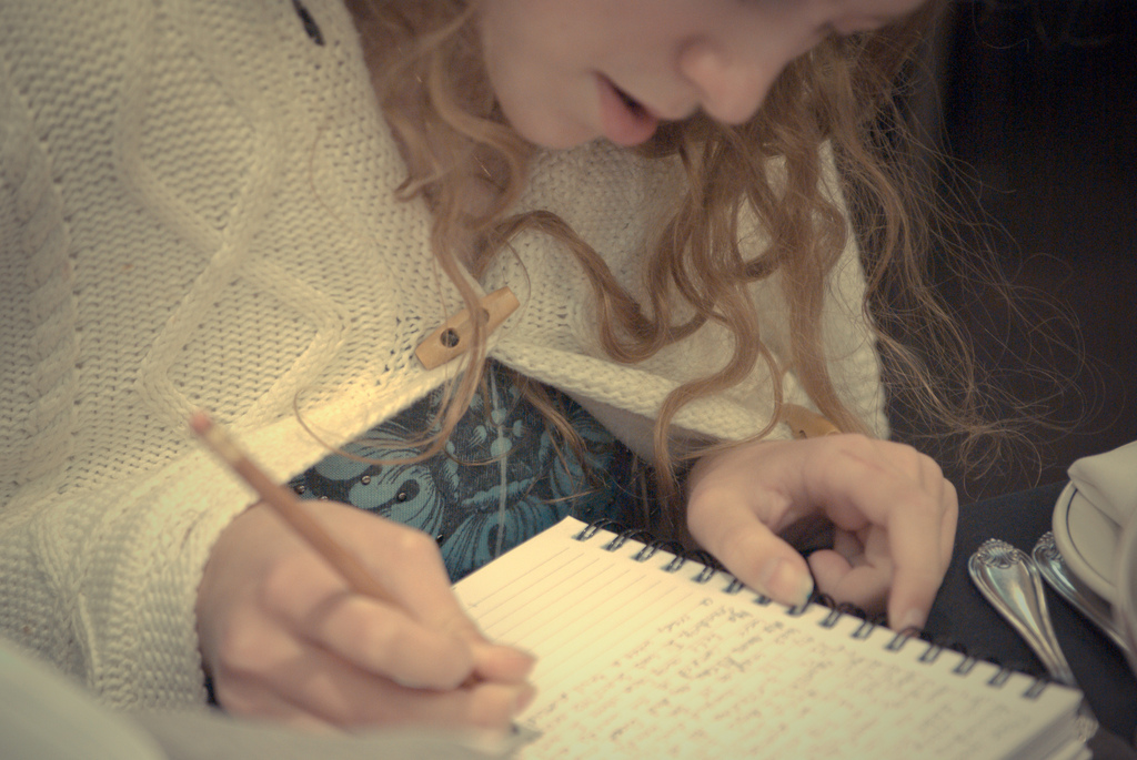 """writing in the journal"" (credit: erink_photography, license: CC-BY 2.0)"