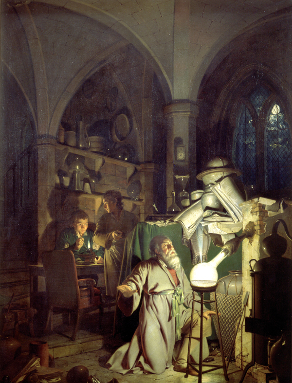 """The Alchymist, In Search of the Philosopher's Stone, Discovers Phosphorus, and prays for the successful Conclusion of his operation, as was the custom of the Ancient Chymical Astrologers"" (1771) by Joseph Wright of Derby (1734-1791)"