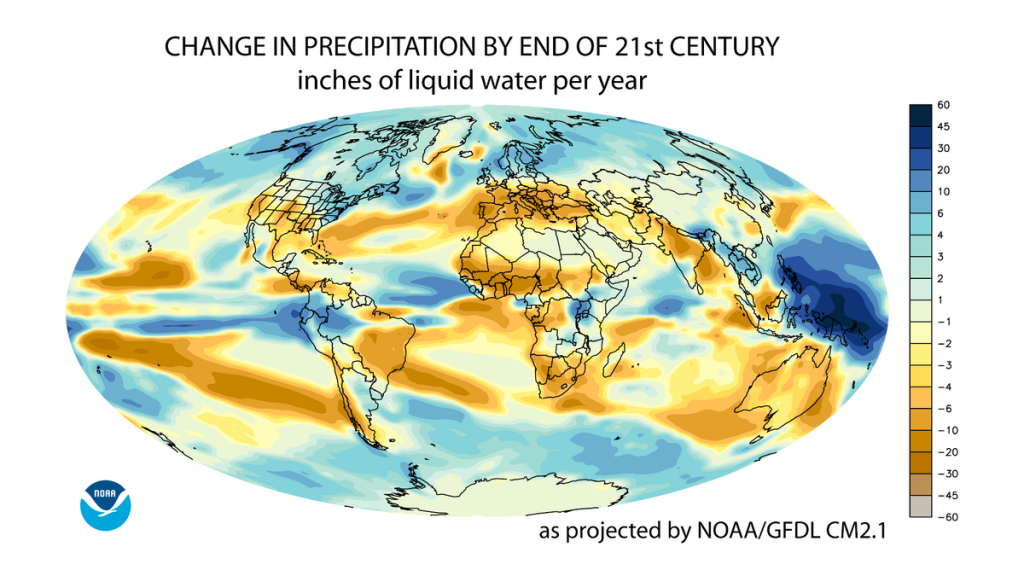 Projected change in annual average precipitation by the end of the 21st century, based on a medium emissions scenario (SRES A1B) (Credit: NOAA Geophysical Fluid Dynamics Laboratory, Public Domain)