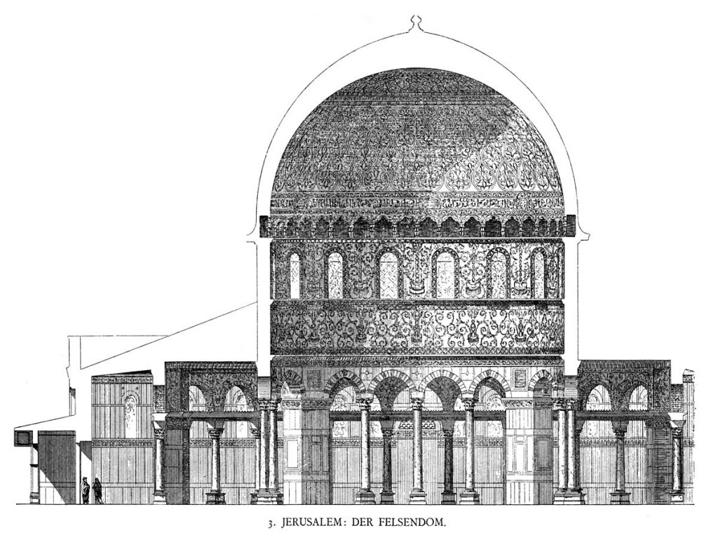 Dome of the Rock, Jerusalem. Cross section. (Georg Dehio/Gustav von Bezold, 1887–1901) This image is taken from Georg Dehio/Gustav von Bezold: Kirchliche Baukunst des Abendlandes. Stuttgart: Verlag der Cotta'schen Buchhandlung 1887-1901, Plate No. 10. Due to its age, it is to be used with care. It may not reflect the latest knowledge or the current state of the depicted structure.