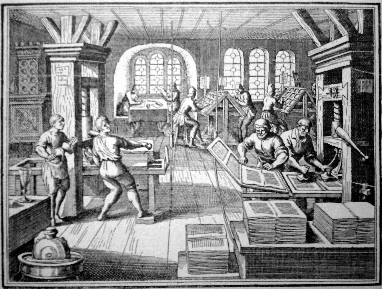 """Printing press, 16th century in Germany"" from Tolnai világtörténelme. Ujkor -könyv (1908)"