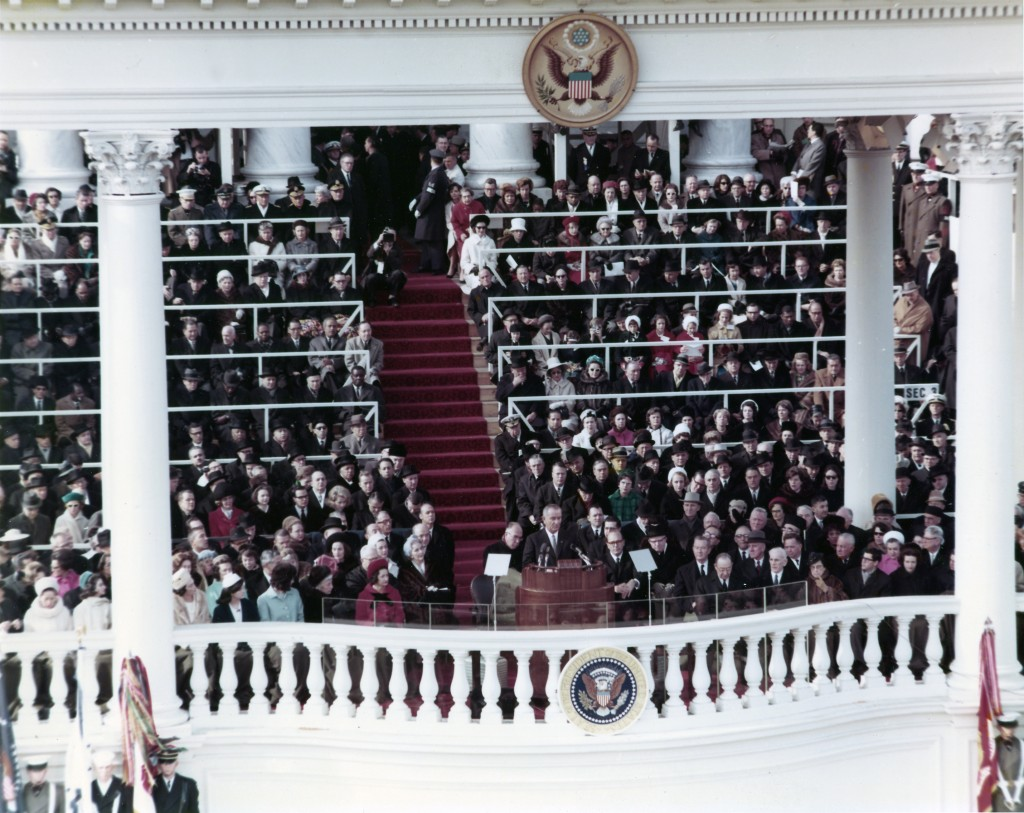 President Johnson delivering his speech at the Inauguration held 20 January 1965.