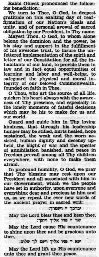 Inauguration Day Benediction for President John F. Kennedy by Rabbi Dr. Nelson Glueck (1961)