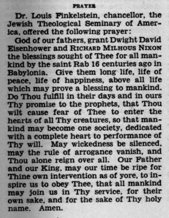Inauguration Day Prayer for President Dwight D. Eisenhower by Dr. Louis Finkelstein (1957)