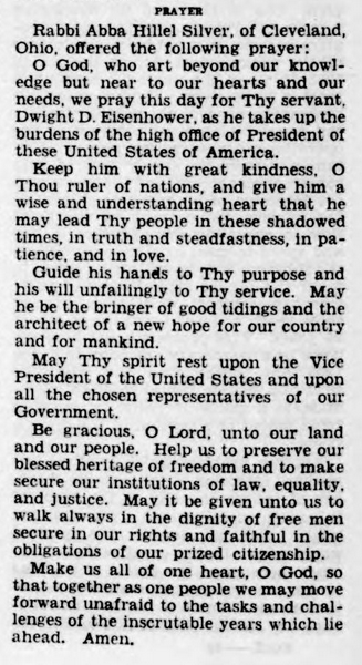 Inauguration Day Prayer for President President Dwight D. Eisenhower by Rabbi Rabbi Abba Hillel Silver (1953)