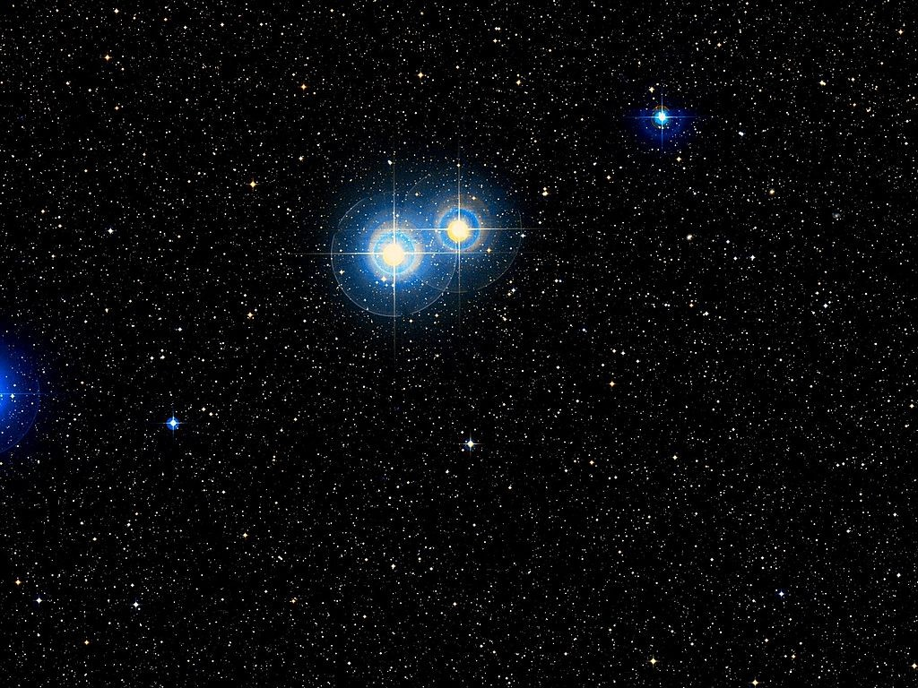 """Alpha Capricorni - optical double star."" (credit: The image was produced by WikiSky's image cutout tool out of DSS2 data; license: CC BY)"