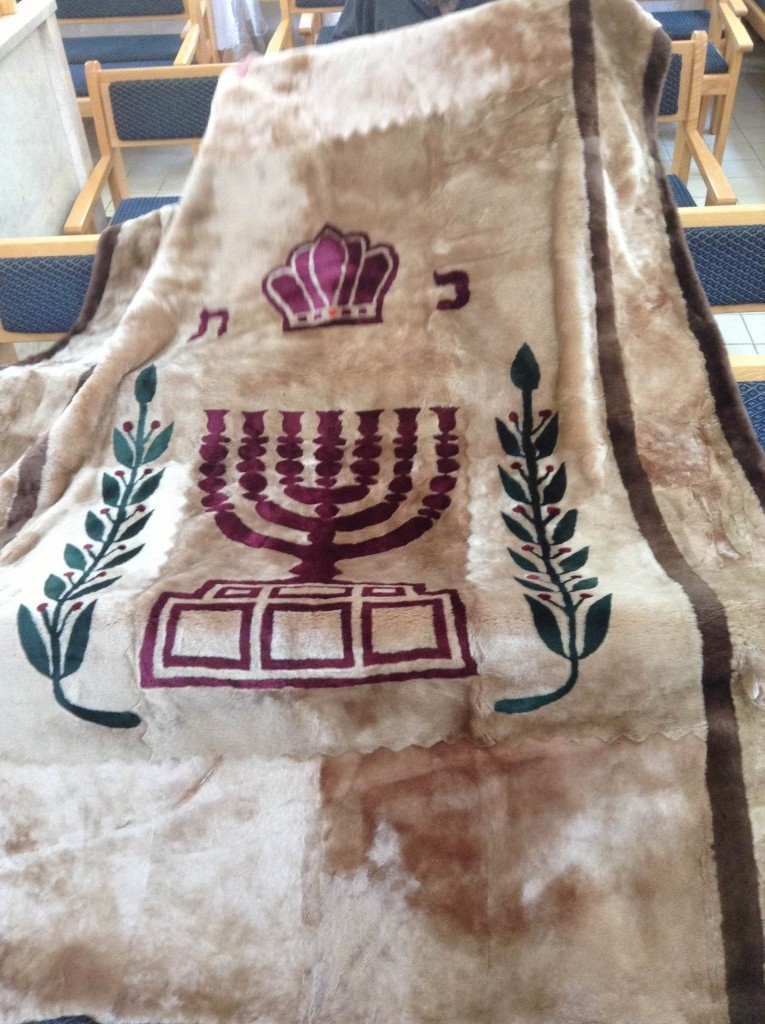 """Or Zaruaa Synagogue, in Nachlaot neighbourhood Jerusalem Israel. Parochet with State of Israel emblem, Menorah and olive tree branches withi green leaves"" (credit: Alon Yeda, license: CC0)"
