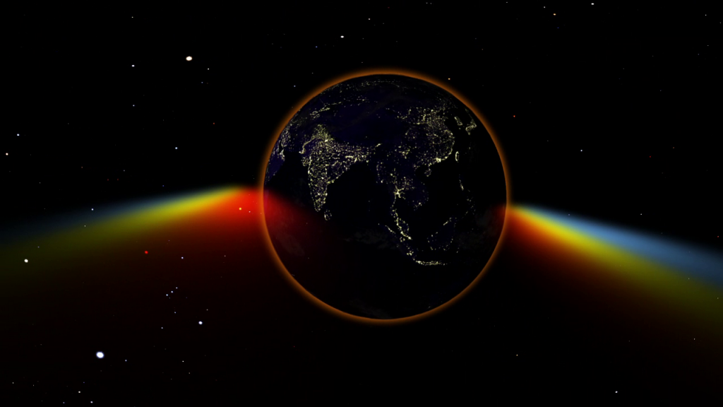"Still from an animation, ""Lunar Eclipse: Light Scattering Seen From The Moon"" The way that light is scattered by the Earth's atmosphere to turn the moon red during an eclipse is similar to how the sky turns red at sunset. (credit: NASA/Goddard Space Flight Center Scientific Visualization Studio, license PD)"
