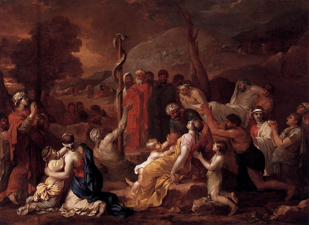 """Moses and the Brazen Serpent"" by Sébastien Bourdon (1616–1671)"