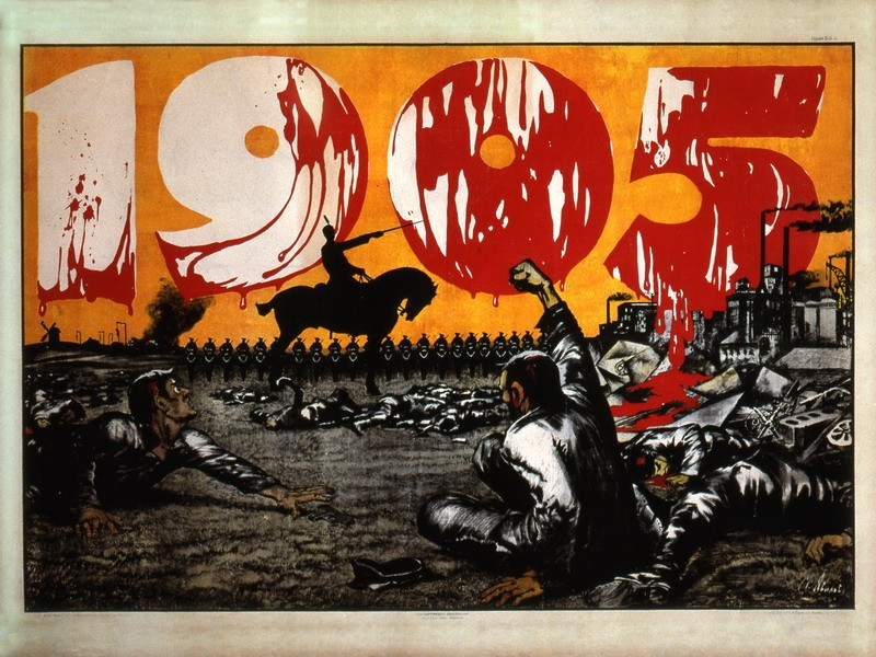A revolutionary poster emphasizing the bloody nature of the conflict in Russia during 1905.