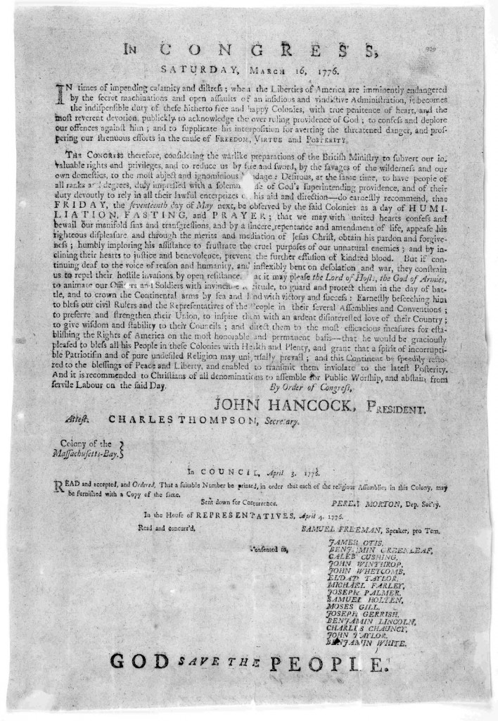 Proclamation in Congress on March 16, 1776 for a Day of Humiliation, Fasting, and Prayer on May 17, 1776.