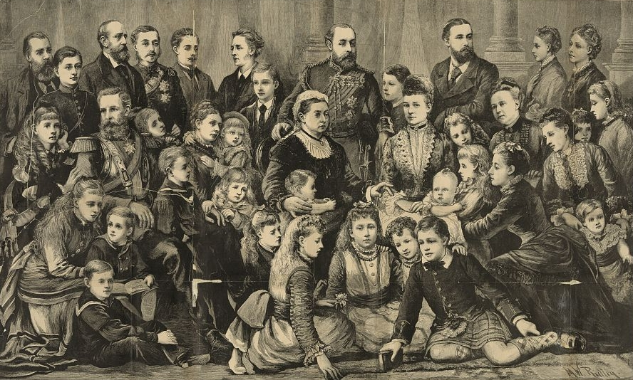 """Her Majesty Queen Victoria and the members of the royal family"", M.W. Ridley. Illustration from Frank Leslie's illustrated newspaper, v. 44, no. 1137 (July 14 1877)."