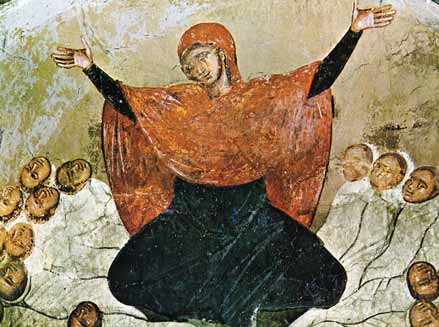 """Rachel is weeping for her children, 14th century fresco from Marko's Monastery."