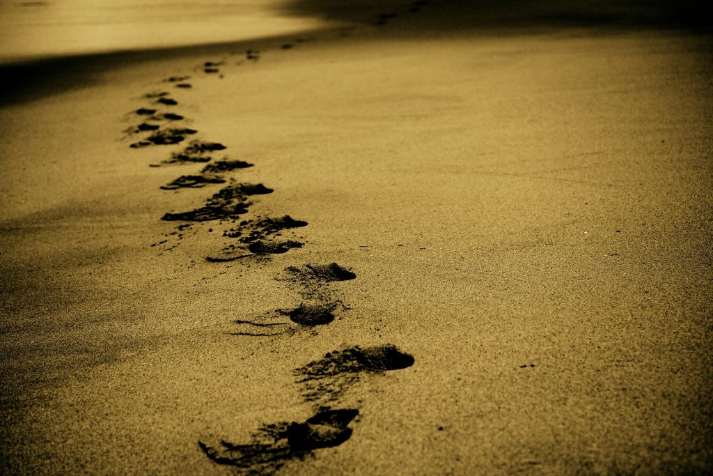 """Sand Footprints Footmarks"" (credit: unsplash.com, license: CC0)"