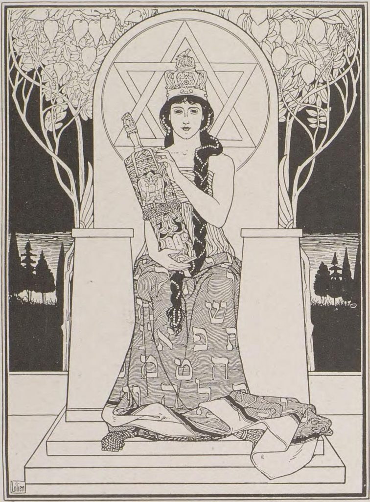 The Sabbath Queen. Illustration by Lilien (1874-1925) of the book: Juda, ballads of Börries von Münchhausen (Berlin 1901)