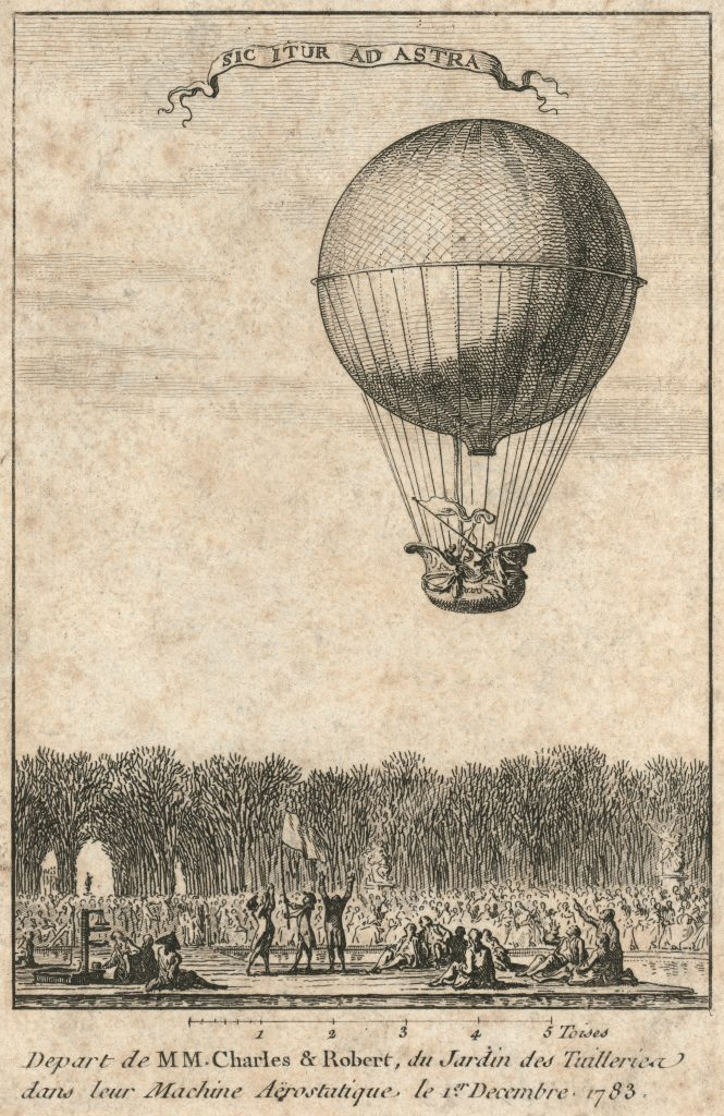 """Depart de MM. Charles & Robert, du Jardin des Tuilleries dans leur machine aërostatique, le 1er decembre 1783"" Print shows the balloon of Jacques Alexandre César Charles and Marie-Noël Robert ascending from the Tuileries Garden, Paris, France, December 1, 1783 in the first hydrogen balloon flight. ""Sic itur ad astra"" written in banner above image. (Source: A.G. Renstrom, LC staff, 1981-82.)"