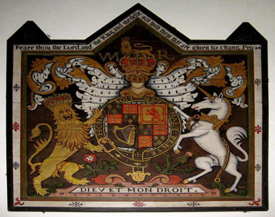 the British royal coat-of-arms quoting Proverbs 24:21-22 as found in St Michael's Church East Coker