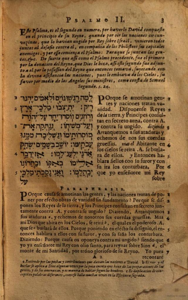 תהלים ב׳ בלשון ספרדית | Psalms 2 in Spanish (trans. Rabbi Yahakob Yehuda, Leon Hebréo 1671)