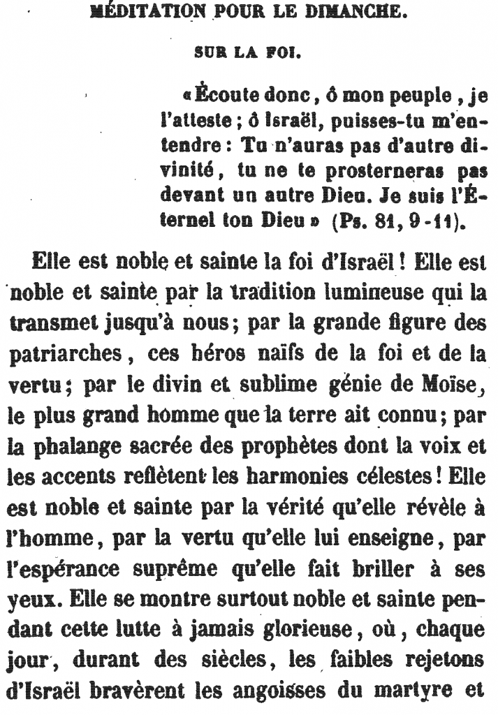 Méditation Pour le Dimanche | Meditation for Sunday (the First Day), by Rabbi Arnaud Aron & Jonas Ennery (1852)