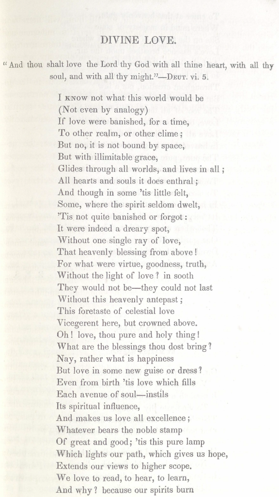 Divine Love, a poem by Rosa Emma Salaman (1848)