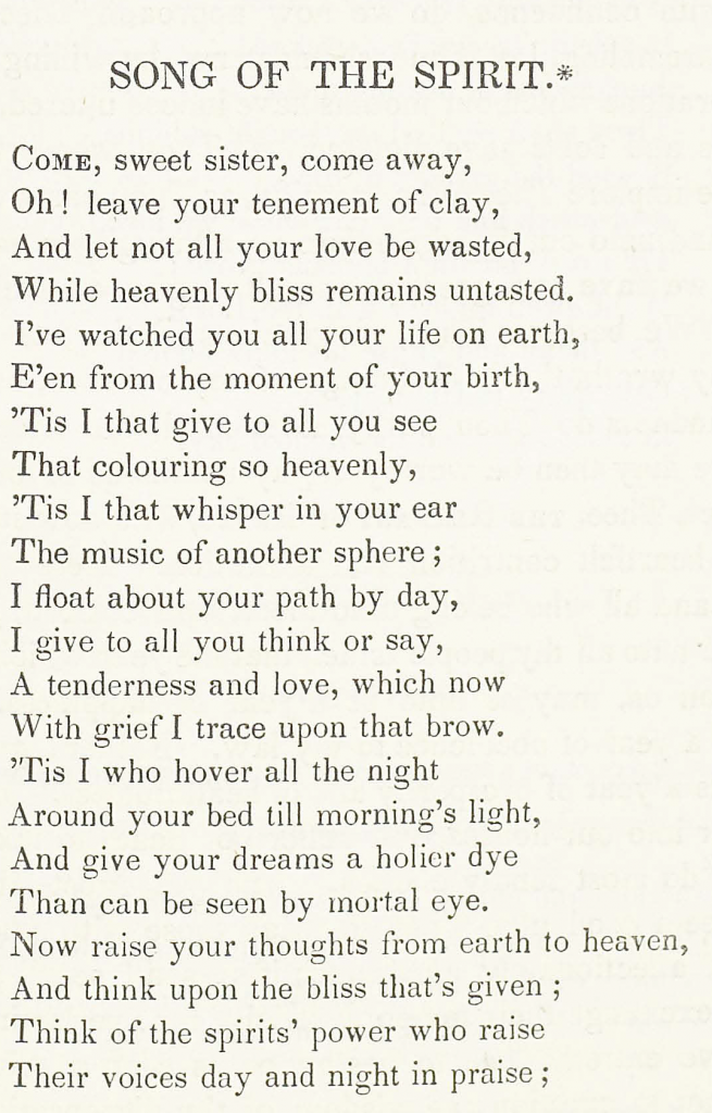 Song of the Spirit, a poem by Rosa Emma Salaman (1848)