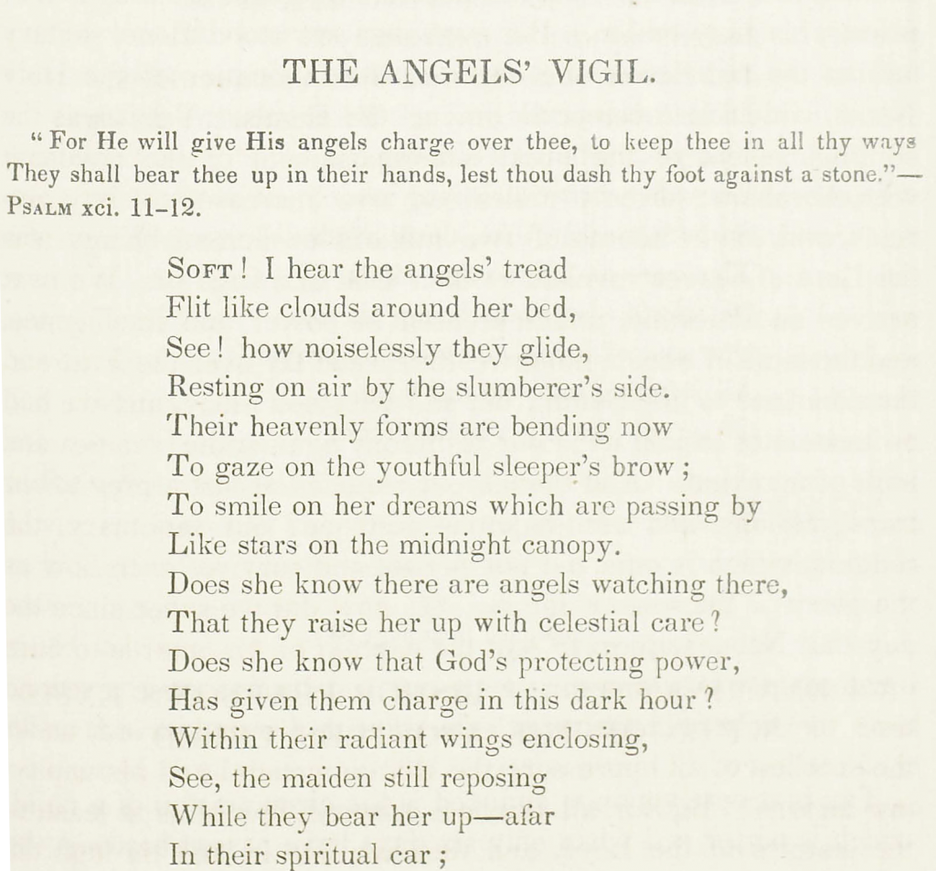 The Angels' Vigil, a poem by Rosa Emma Salaman (1848)