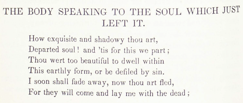 The Body Speaking to the Soul Which Just Left It, a poem by Rosa Emma Salaman (1842)