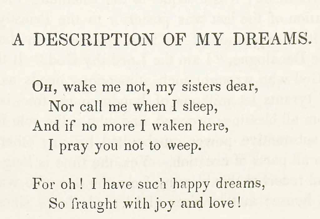 A Description of my Dreams, a poem by Rosa Emma Salaman (1848)