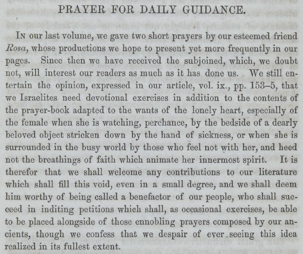 A Prayer for Daily Guidance, a poem by Rosa Emma Salaman (1851)