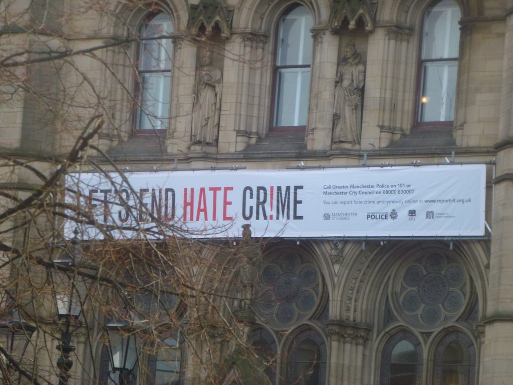 A campaign jointly run by Manchester City Council, Greater Manchester Police, the Crown Prosecution Service (CPS) and Transport for Greater Manchester (TfGM) raising awareness regarding hate crime. (Credit: Mikey, license, CC BY)   More info can be found by clicking on the link below:   www.report-it.org.uk/home   Taken on Friday 10th January, the location here is St Peter's Square in Manchester