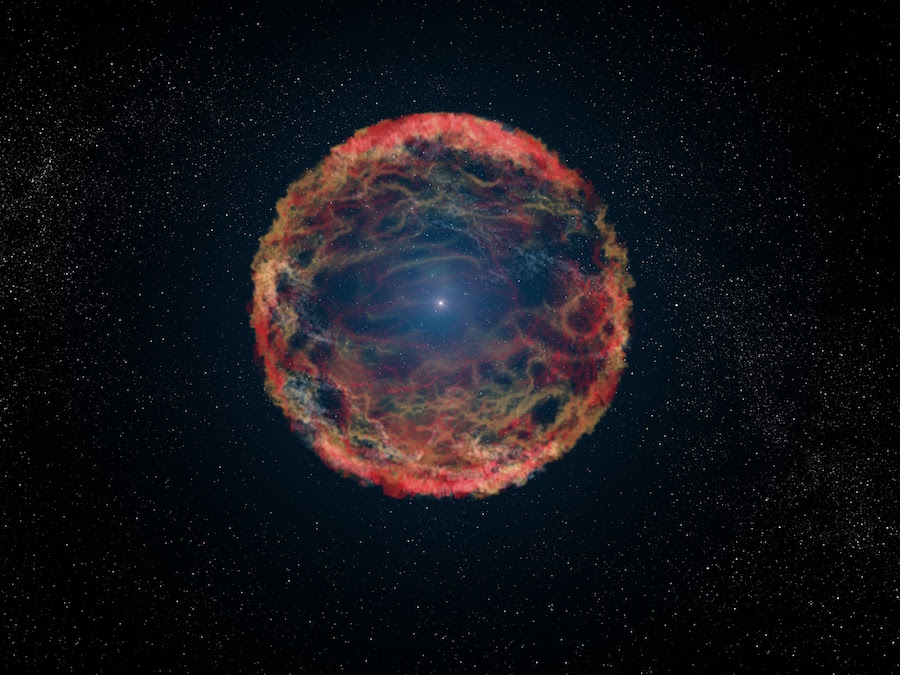 This is an artist's impression of supernova 1993J, an exploding star in the galaxy M81 whose light reached us 21 years ago. The supernova originated in a double-star system where one member was a massive star that exploded after siphoning most of its hydrogen envelope to its companion star. After two decades, astronomers have at last identified the blue helium-burning companion star, seen at the center of the expanding nebula of debris from the supernova. The NASA/ESA Hubble Space Telescope identified the ultraviolet glow of the surviving companion embedded in the fading glow of the supernova. Links:  NASA Press release Spiral galaxy M81 Supernova 1993J in spiral galaxy M81 Supernova 1993J Scenario for Type IIb supernova 1993J