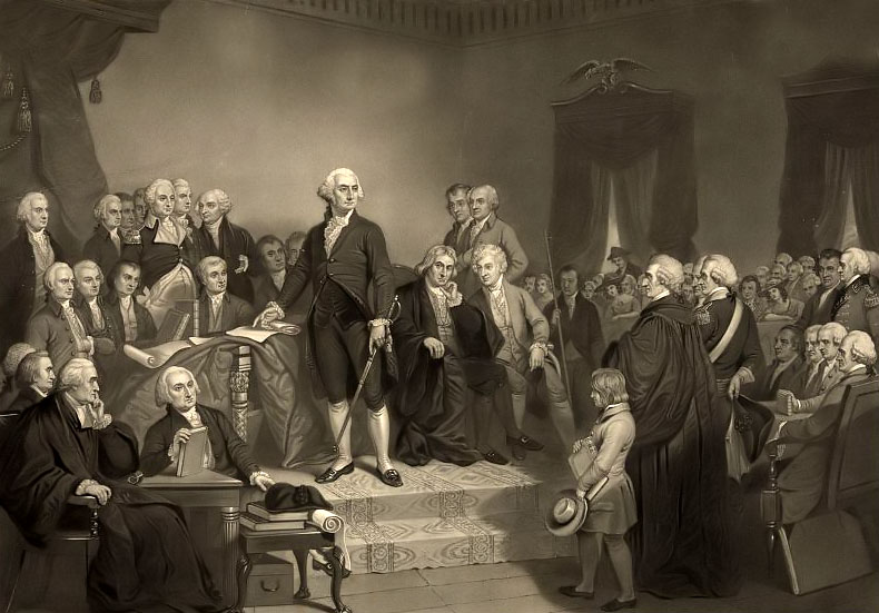 Washington delivering his inaugural address April 1789, in the old city hall, New-York / painted by T.H. Matteson ; engraved on steel by H.S. Sadd.