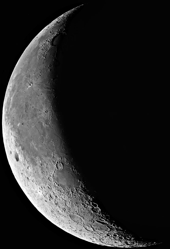"""Waning Moon."" (credit: European Southern Observatory, license CC BY). A series of short exposures through a near-infrared filtre was obtained of the waning Moon at sunrise on January 12 (at about 10 hrs UT), i.e. about 5 days before New Moon (24.3 days ""old""). As can be seen in the image, the edge of the full field-of-view is about the size of the diameter of the Moon. Several 0.1 sec exposures were made through a near-infrared filtre (856 nm; FWHM 14 nm) with small offsets were recombined (to cover the gaps between the individual CCDs); otherwise, the image is raw. It was rebinned (2x2) to 4kx4k size and sampling 0.48 arcsec/pixel. The right-hand side of the picture was cropped in this reproduction to reduce the file size."