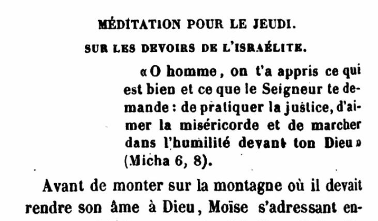 Méditation Pour Le Jeudi | Meditation for Thursday (the Fifth Day), by Rabbi Arnaud Aron and Jonas Ennery (1852)
