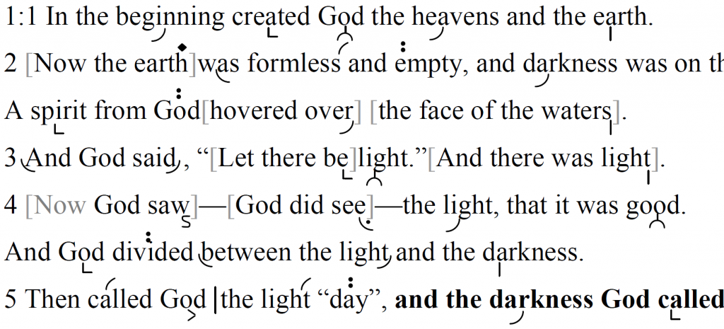 Detail of transtropilized translation of a portion of Genesis chapter 1.