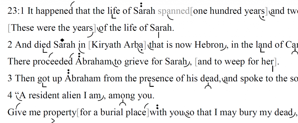 Detail of transtropilized translation of a portion of Parashat Ḥayyei Sarah.