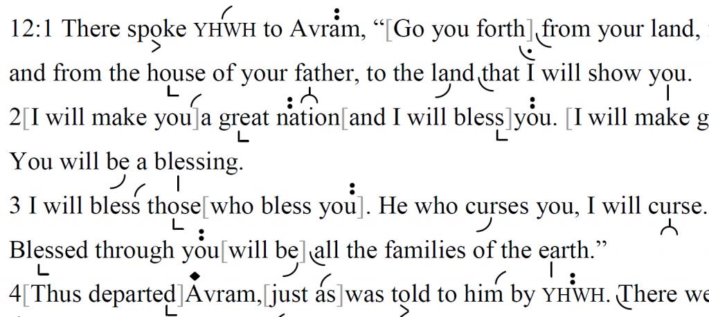 Detail of transtropilized translation of Parashat Lekh Lekha.