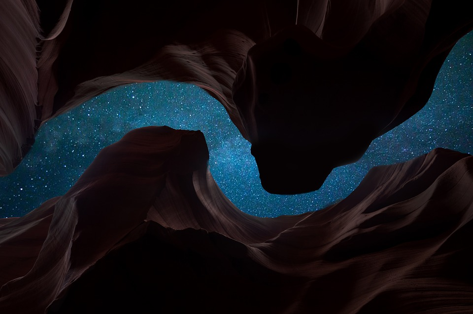 """Outdoors Usa Canyon Stars Antelope Canyon Night"" (credit: Panasonic DMC-Gh4, license: CC0)"